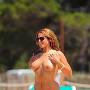 beyonce on beach topless