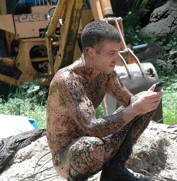 men mud in naked