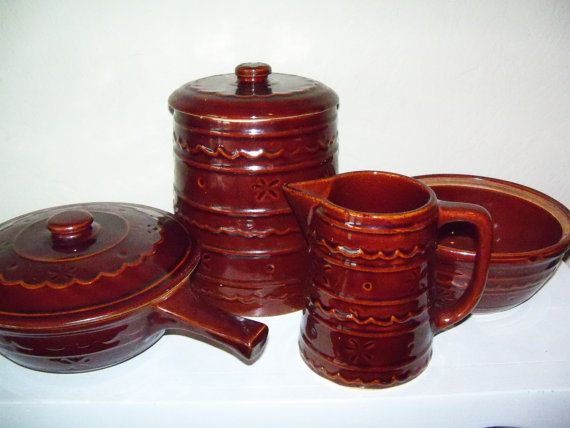 vintage brown soneware dishes