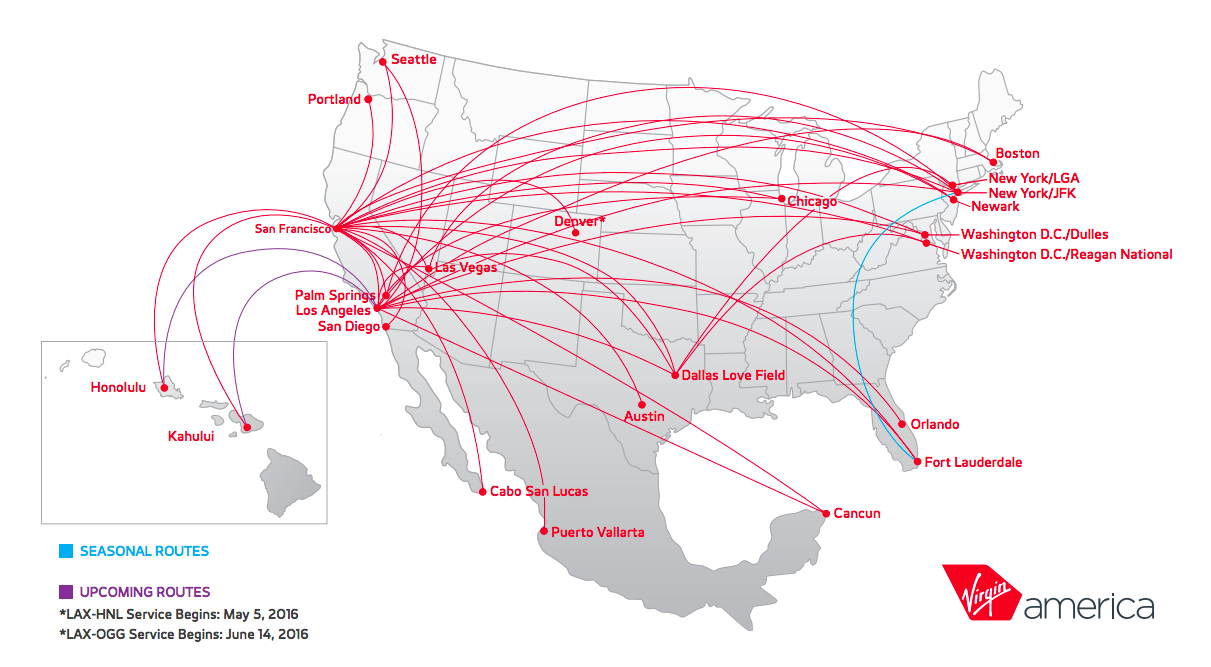 virgin route map america