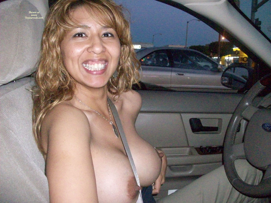 topless nude driving