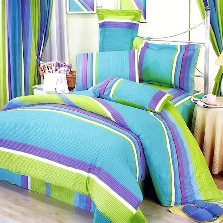 purple bedding lime teen green