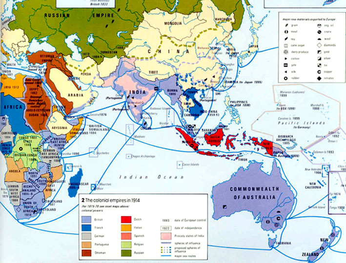 map colonies of asian
