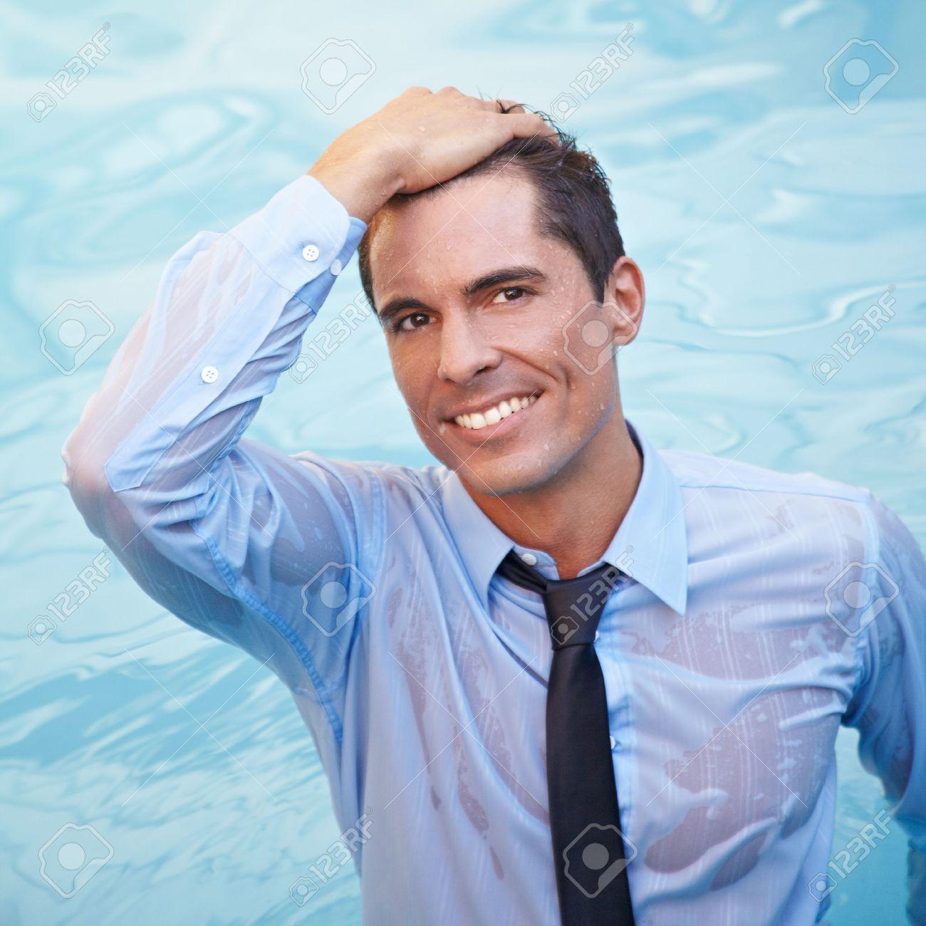 in wet men clothes