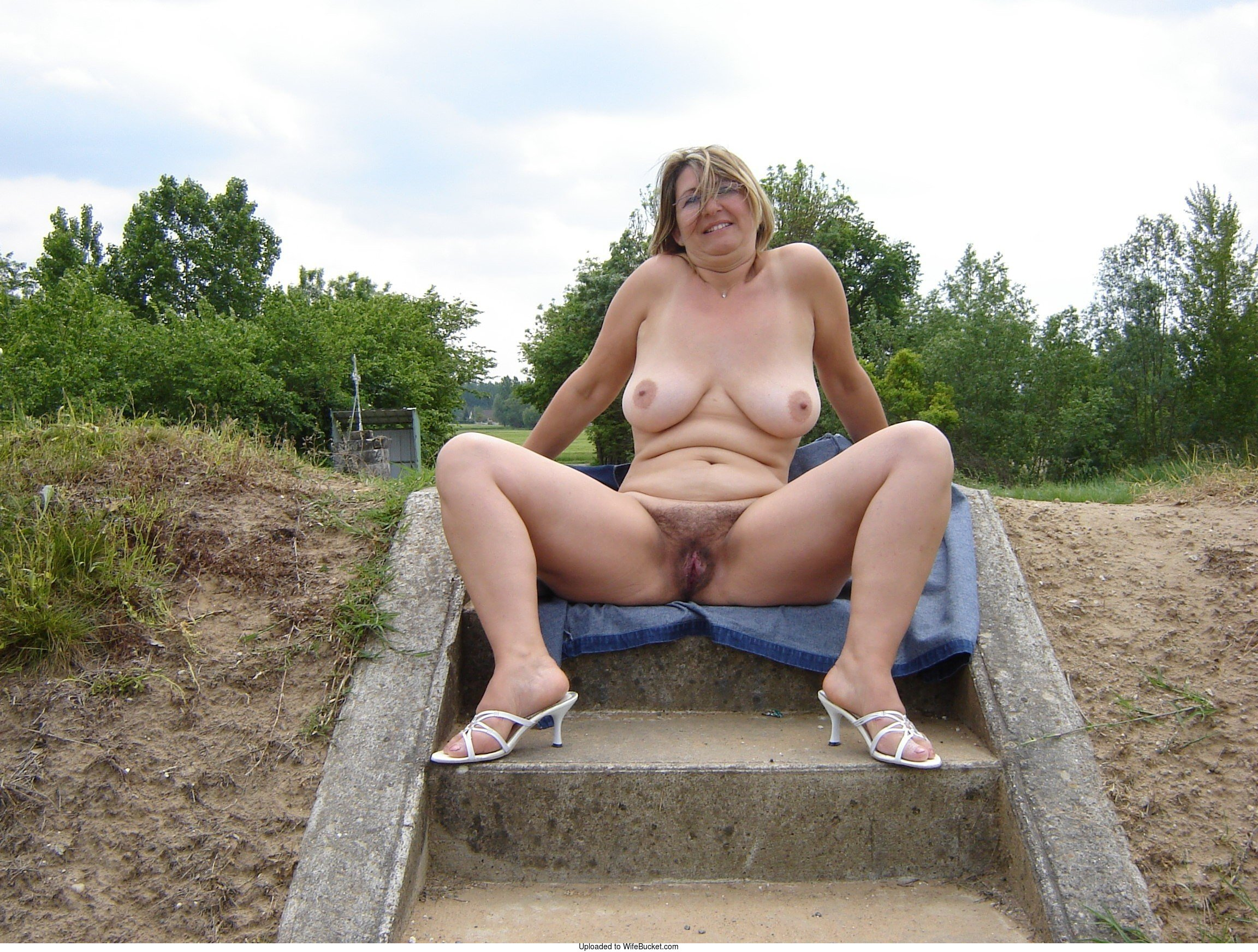 mature naked wife in public